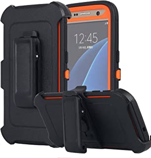 Galaxy S7 Case, AICase [Heavy Duty] [Full Body] Tough 4 in 1 Rugged Shockproof Cover with Belt Clip Armor Protective Cover for Samsung Galaxy S7 (2016) (Black/Orange)