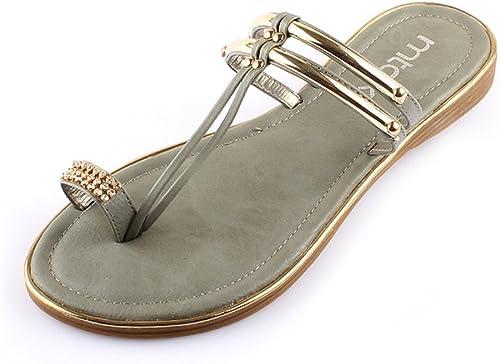 HAIZHEN Chaussures pour Femmes Sandales Femme été PU Casual gris Noir pour Femmes (Couleur   gris, Taille   EU39 UK6.5 CN40)
