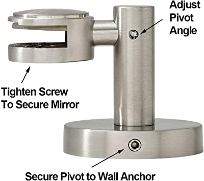 Round Brushed Silver Pivot Mirror Hardware Tilting Anchors for Mirror or Picture Glass or Plexiglass