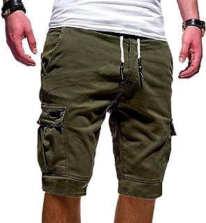 8edf7ccd42392 Yidarton Bermudas Hommes Ete Outdoor Cotton Casual Short Cargo Couleur Unie  Lâche Pantalon Court
