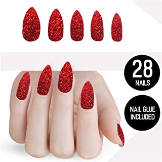 Tip Beauty Glitter Fake Nail Kit, Faux Nails for Women, Fake Nails for Kids, Glue on Nails, Instant Nails for Ladies, Professional Nail Tips - MSRP $20 - Santa Bae-By Red