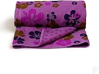 CXQ Yoga Blanket Wide Pad Towel Non-Slip Yoga Cloth Towel Four-Leaf Grass Print Yoga Sweat Towel (Color : Dark Purple)