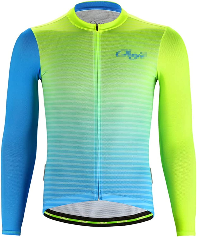 Alomoc Men's Summer Long Sleeve Cycling Jersey Quick Dry Highway Bike Shirt