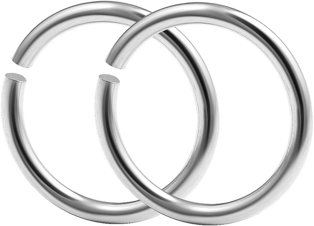 bodyjewellery 2pcs 18g 1mm Nose Hoop Rings Seamless Nostril Septum Cartilage Piercing Jewelry Gauge 316L Surgical Steel - Pick Size