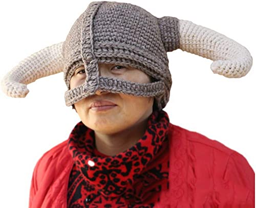 opciones a bajo precio SCYTSD Peluca Barba Sombreros Hechos a Mano Gran Cuerno Cap Cap Cap Caliente Invierno Gorras esquí Diverdeidos máscara Beanie para hombres mujeres  saludable