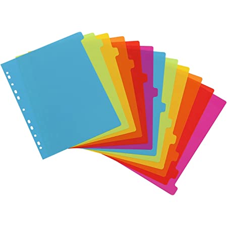 Viquel - Lot de 12 intercalaires en plastique - Maxi format (24,5x30,5cm) - Pour classeur A4 Maxi format ou classeur à levier - Coloris fluo