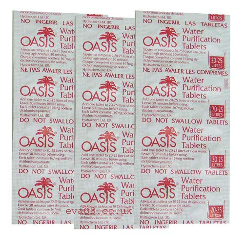 EVAQ8 Oasis 167mg Emergency Water Purification Tablets 500 Tablets - Treats 10,000 Litres