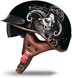 HEATOOX ACU Devil Pattern Protection Caps Built-in Sunglasses Visor Crash Motorcycle Helmet Stylish Half Helmet Unisex Personality Retro Motorbike Helmet Protective Gear (Size : XXL)