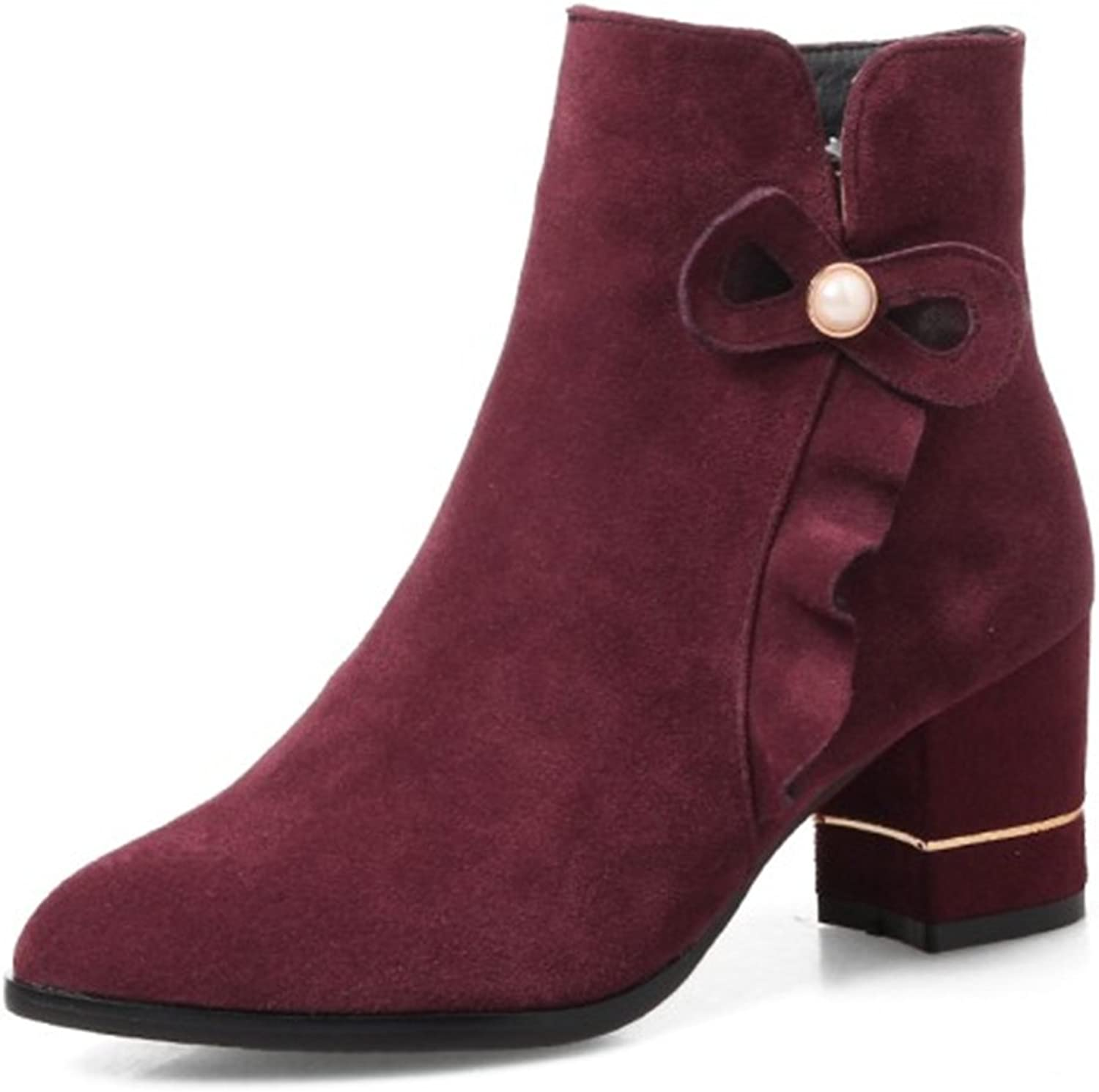 QZUnique Women's Short Boots Ladies' Suede Mid Heels Frosted Suede Pointed Toe shoes
