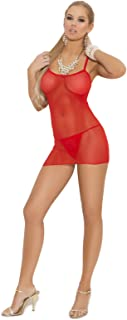Women's One Size Slip Style Fishnet Mini Dress and Matching G-String