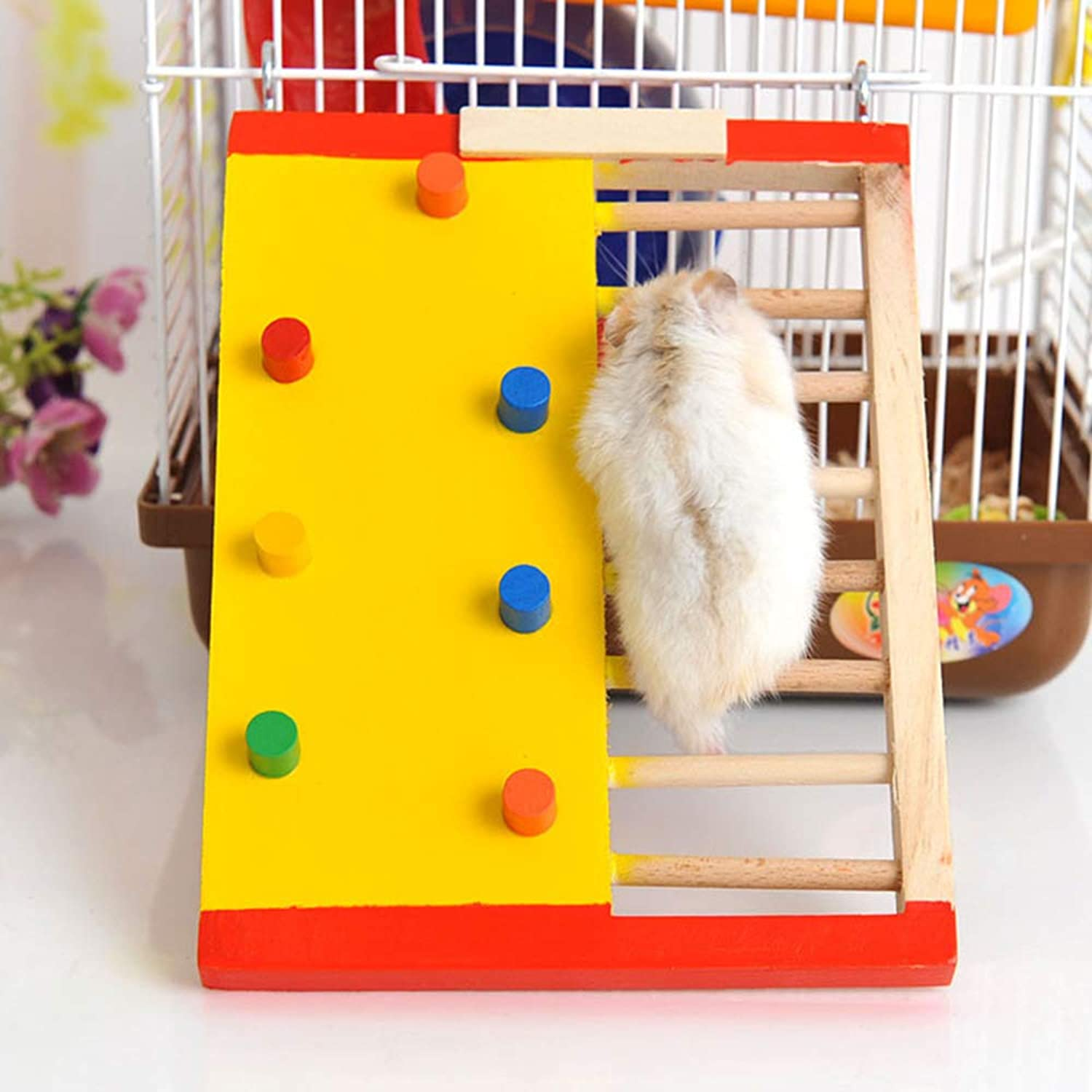 Pet Toy Hamster colorful Climbing Ladder Original Wooden Small Pet Dutch Pig Non-Slip Climbing Stairs Pet Supplies Wooden Toys