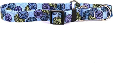 "Yellow Dog Design Spirals Blue Martingale Dog Collar-Size Large-1"" Wide and fits Neck 18 to 26"""