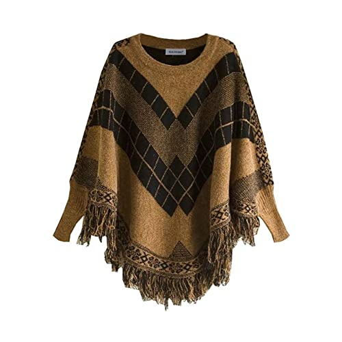 cffe41edca Vinaka Women's Round Collar Assorted Colors Batwing Sleeve Poncho Tassels Pullover  Sweater