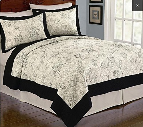 CANNON Camila Embroidered King Floral Pattern Quilt -...