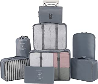 GuaziV 8 Set Packing Cubes,Travel Luggage Bags Packing Organizers Set with Hanging Toiletry Bag (Grey)