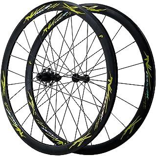 二重壁アルミニウム合金ロードバイクホイール700CホイールセットクイックリリースリムC / Vブレーキサイクリングホイール78 9 10 1112スピード用 (Color : Green, Size : 700C)