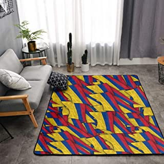 NiYoung Bedroom Living Room Area Mat - Drying Fast and Water Absorbent Area Rugs with Non-Slip Pad for Babies Kids, Premium & Comfortable Flannel Colombia Flag Wave Bath Rugs