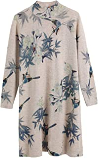 Women's Wool Floral Bird Printed Slim Knitted Mock Neck Warm Pullover Sweater Dresses Tops 1503