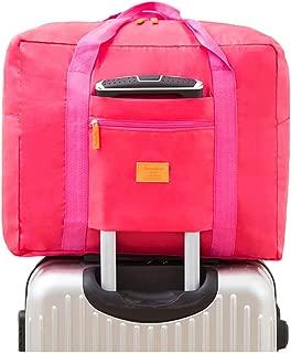 LANGUGU Travel Duffel Bag,Waterproof Foldable Large Capacity Luggage Bag Carry on Storage Bag, Fabric, Rose, Medium