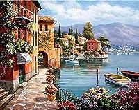 番号によるDiyペイント絵画海辺の油絵ブラシとアクリル絵の具キット絵画キャンバス初心者の油絵ブラシ付き