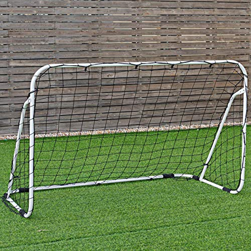 Goplus Portable Soccer Goal, Outdoor Soccer Goal Net w/Black Anti-Skid Pads, Quick Set up and Easy Disassemble Practice Soccer Goal (6' x 4')