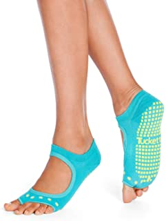 Tucketts Allegro Toeless Non-Slip Grip Socks, Made in Colombia, Mary Jane Style Perfect for Yoga, Barre, Pilates, Small-Me...