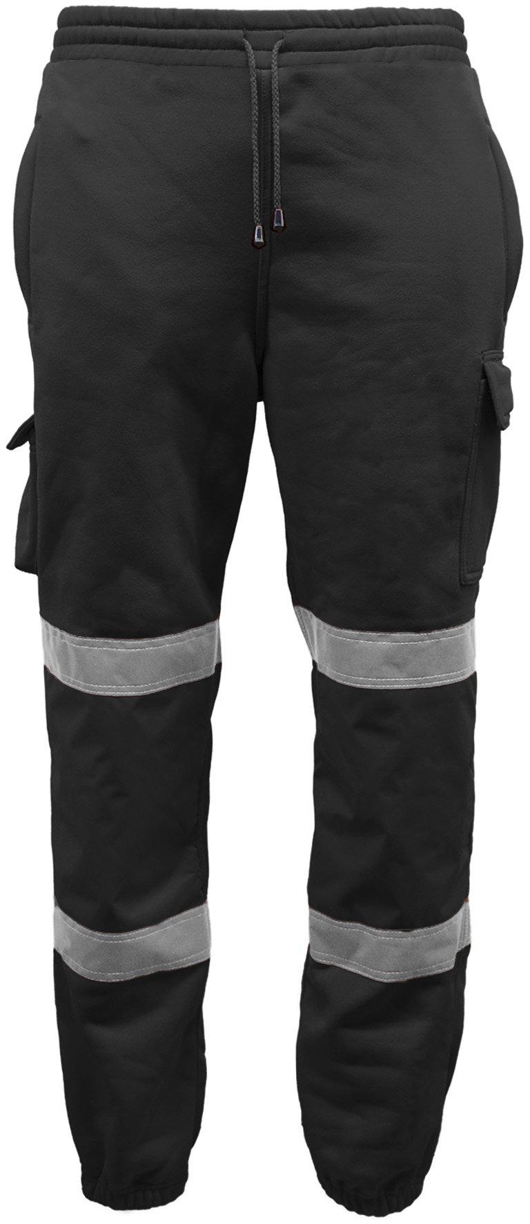 Men/'s Safety Sweat Pants Hi Viz Vis Work Fleece Bottoms Jogging Trousers Joggers