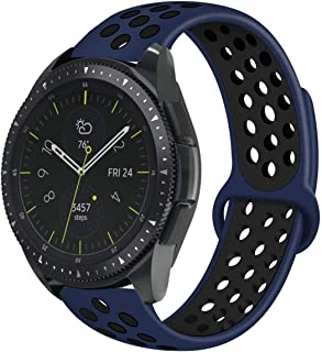 Compatible with Samsung Galaxy Watch 42mm Bands/Gear Sport Band, 20mm BreathableSilicone Strap Sports Replacement Wristband for Galaxy Watch 42mm(Midnight Blue-Black, Large)