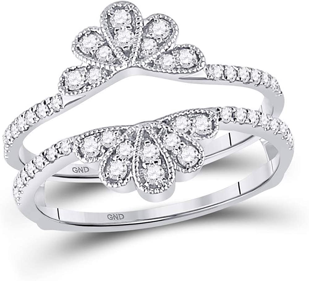 14kt White Gold Womens Round Diamond Wrap Ring Guard Enhancer 3/8 Cttw