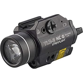 Streamlight 69265 TLR-2 800 High Lumens G Rail Mounted Flashlight with Green Laser, Black