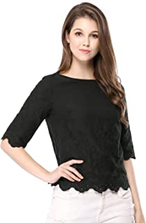 Women's Elbow Sleeves Round Neck Embroidery Blouse