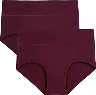 wirarpa Women's 5 or 2 or 1 Pack Cotton Underwear High Waist Full Coverage Brief Panties