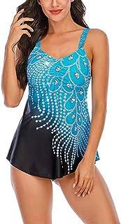 Women Two Piece Swimwear Printing Splicing Vintage Skirted Swimdress Beachwear Slim Swimsuits for Women Boyshort