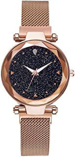 Leopard MGA-2 Luxury Mesh Magnet Buckle Starry Sky Quartz Watches for Girls Fashion Clock Mysterious Rosegold Lady Analog Watch - for Girls