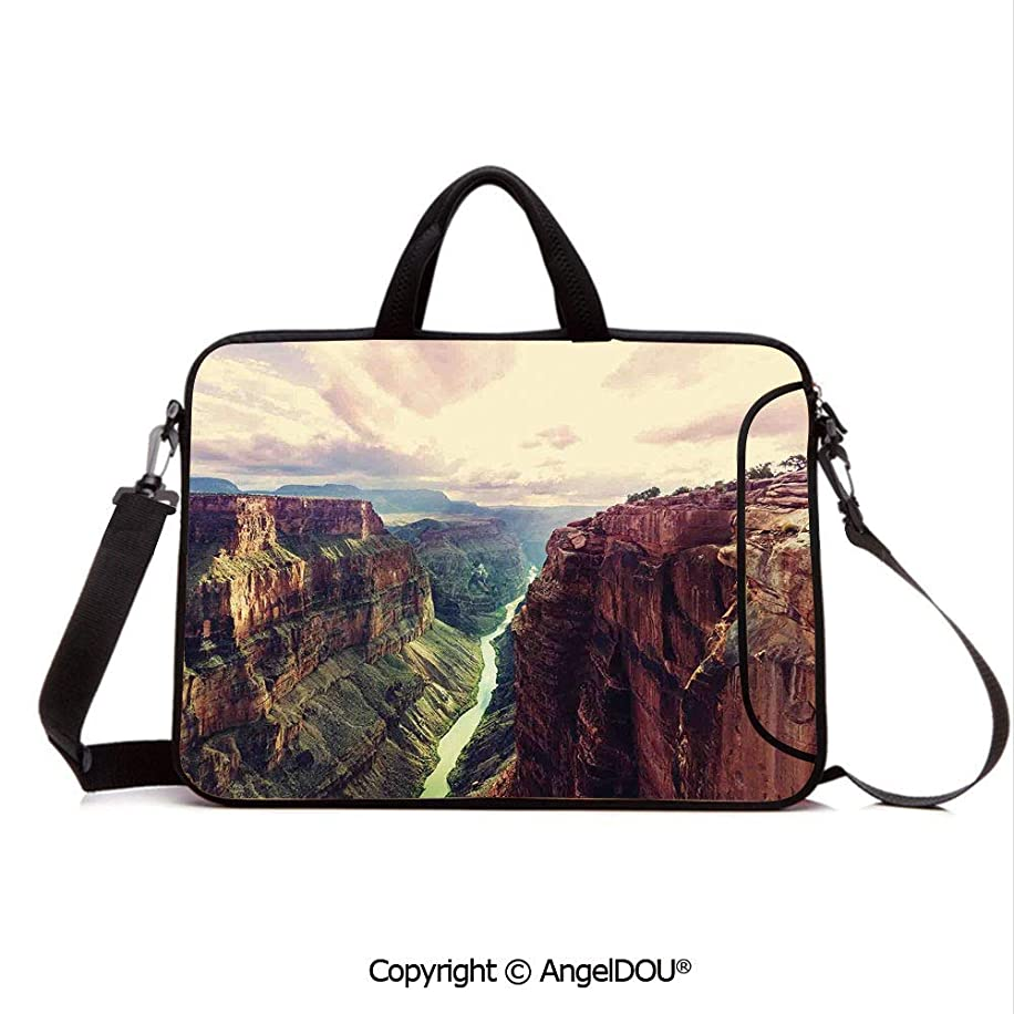 AngelDOU Waterproof Laptop Sleeve Bag Neoprene Carrying Case with Handle & Strap View of The Canyon with Mystical Narrow Long River Line Primitive Forces of Natu for Women &Men Work Home Office Mult