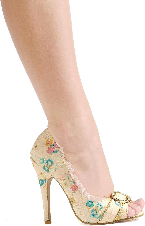 Ellie 4.5 Decorative Fabric Peep-Toe W Rhinestones. Ivory