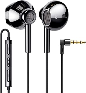 Linklike Quad Dynamic Drivers Hi-Res Extra Bass Earbuds Headphones Noise Isolating Wired Earbuds with Microphone, Lightweight Earphones with Volume Control 3.5mm Jack In-Ear Headphones (Bright Black)