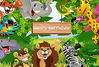 Yeele 5x3ft Jungle Safari Cartoon Animals Backdrop - Baby Happy Birthday Party Banner Decor Photography Background Kids Children Portrait Photo Booth Shooting Studio Props Photocall