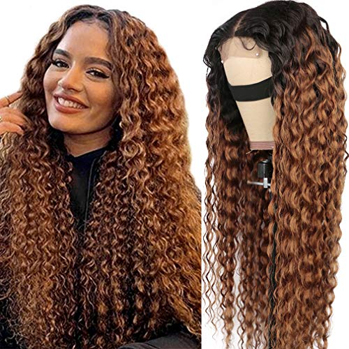 Haha Ombre Water Wave Human Hair Wig Brazilian Ombre Curly Lace Closure Wig Human Hair Wet n Wavy Wig for Black Women Virgin Hair Wig Aubrun Brown 16 Inch 1B/30