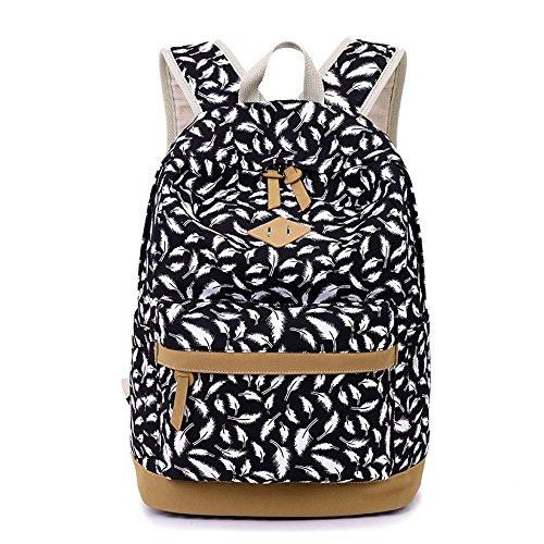 Feather Cute Fashion imprimé toile Casual ordinateur portable sac scolaire sac à dos léger sacs à dos pour jeunes adolescentes