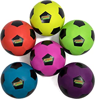 """Atomic Athletics 6-Pack of Neon Rubber Playground Soccer Balls – Bulk Set of Youth Size 4, 8"""" Balls with Air Pump & Mesh S..."""