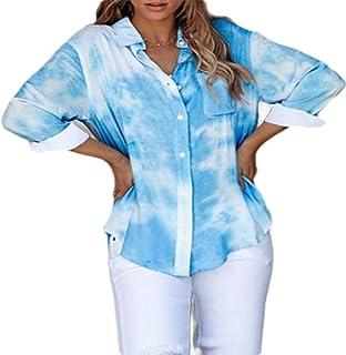 قميص أبيكوك نسائي بأكمام طويلة وجيوب فضفاضة متدرجة بأزرار