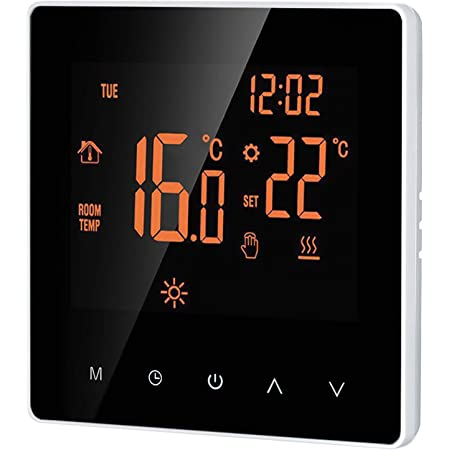 Galapare Termostato Inteligente, Controlador Digital de Temperatura Pantalla LCD Pantalla táctil Semana Programable Termostato de calefacción de Piso eléctrico para el hogar Oficina Escolar Hotel 16A