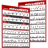 Crossfit Exercise Workout Poster Set – Guide with 45 Main WOD Movements for Full Body Training – Bodyweight, Barbell, Dumbbell, Kettlebell Training Posters – (2 Laminated Posters 24x17 inches)