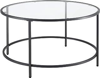 Table Basse Ronde pour Salon Petite Table Stylée Plateau en Verre Pieds en Acier 84 x 45,5 cm Noir