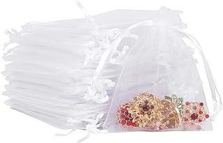Kalaokei 50 Pcs Bijoux Emballage Cadeau Sac Bijoux Cordon Pochettes F/ête De No/ël Cadeau Bonbons Chocolat Sacs Argent 10 12 cm