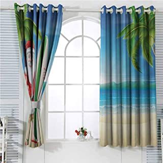 luvolux Christmas Grommet Top Noise Reducing Curtains,Santa Claus with Trunks on The Beach and Surfboard Sunny Hot Christmas Theme Room Darkening Drapes for Bedroom W72 x L108 Inch Blue Green