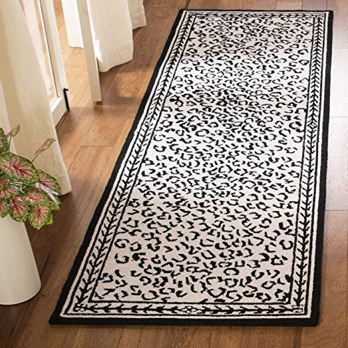 Safavieh Chelsea Collection HK15C handgehakter Wollteppich, weiß und schwarz Modern 2'6