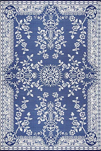 Mad Mats Garland Indoor/Outdoor Floor Mat, 6 by 9-Feet, Blue and White