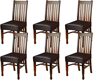 Fuloon Dining Chair Covers,Solid Pu Leather Waterproof and Oilproof Stretch Dining Chair Protctor Cover Slipcover (6 Sets, BNB)
